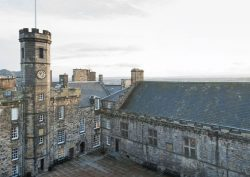Edinburgh Castle, Crown Square.  'Plastic' replaces iron pipework at historic landmark